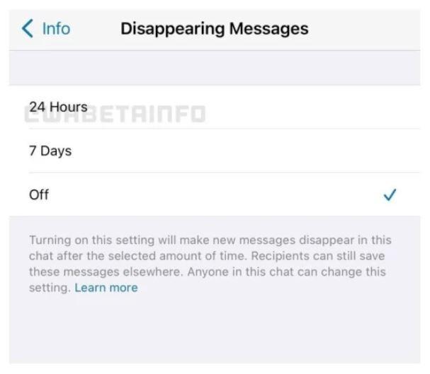 ویژگی خود تخریبی پیام ها در پیام رسان واتساپ
